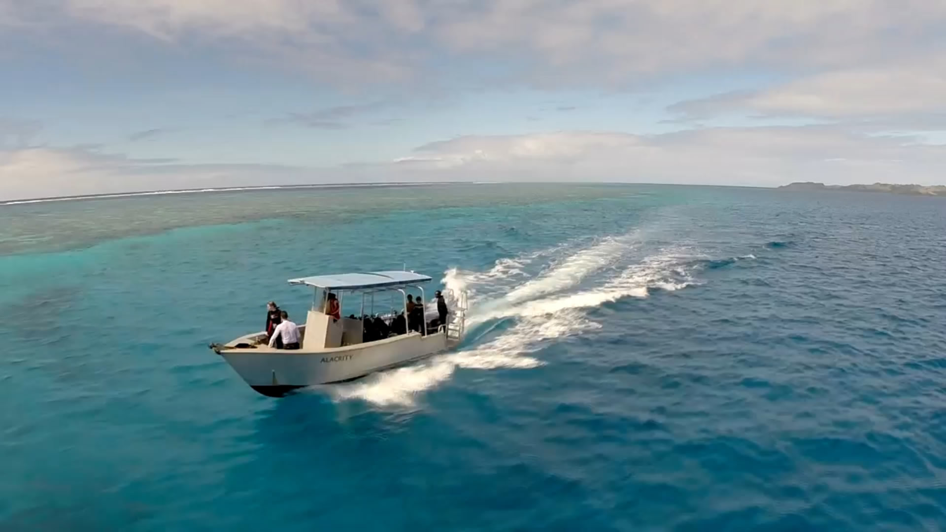 Scuba boat in the ocean of Fiji